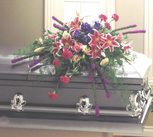 Funeral Casket Purple & Pink - Designs East Florist Dallas
