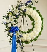 Blue and White Standing Wreath