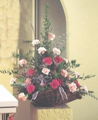 Pink and red roses basket