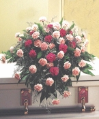 Funeral Casket Pink & Red Carnations - Designs East Florist Dallas