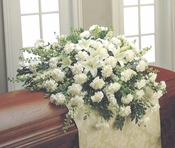 Funeral All White Flowers  Casket - Designs East Florist Dallas