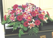 Funeral All Red Casket - Designs East Florist Dallas