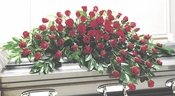 Funeral Red Roses Casket - Designs East Florist Dallas