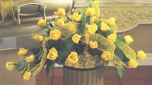 Sympathy Yellow Roses Basket