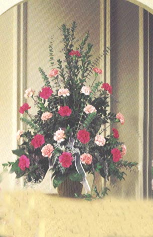 Funeral Basket Red & Pink Carnations