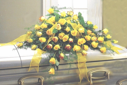 Funeral All Yellow Roses Casket - Designs East Florist Dallas