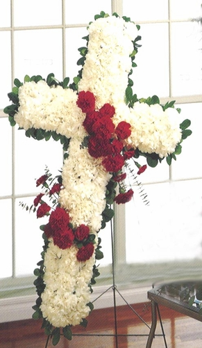Classic Red & White Cross - Designs East Florist Dallas