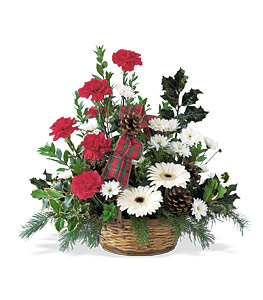 Winter wonderland basket flowers - Designs East Florist Dallas
