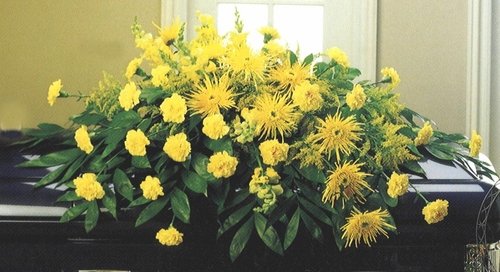 All Yellow Casket - Designs East Florist Dallas