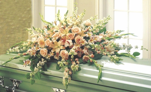 Funeral Casket Pastel Peach & Pink - Designs East Florist Dallas