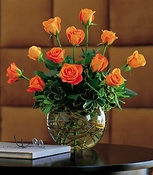 Dozen Orange Roses - Designs East Florist Dallas