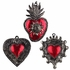 Small Antiqued Tin and Red Oaxacan Heart Ornaments - Set of 6