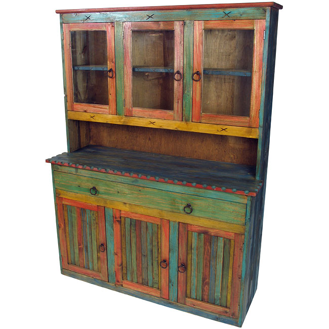 - Mexican Painted Wood China Cabinet With Glass