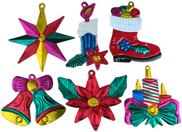 Mexican Christmas Decorations.Painted Tin Mexican Christmas Ornaments Per Doz