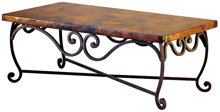 Astonishing Pio Iron Base Coffee Table With Copper Top Bralicious Painted Fabric Chair Ideas Braliciousco