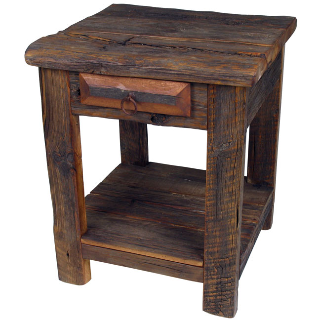 Rustic Old Wood End Table Or Nightstand With One Drawer