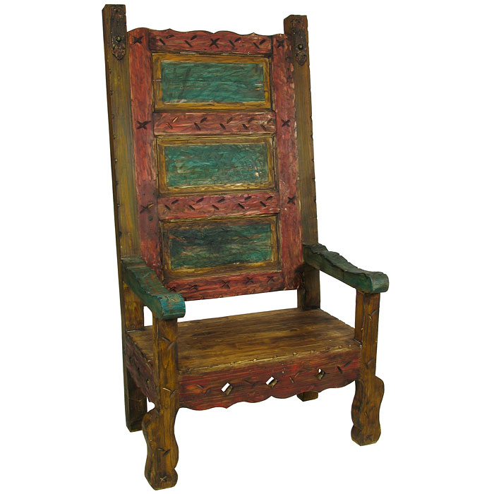 Super Mexican Throne Chair Multi Color Painted Wood Beutiful Home Inspiration Ommitmahrainfo