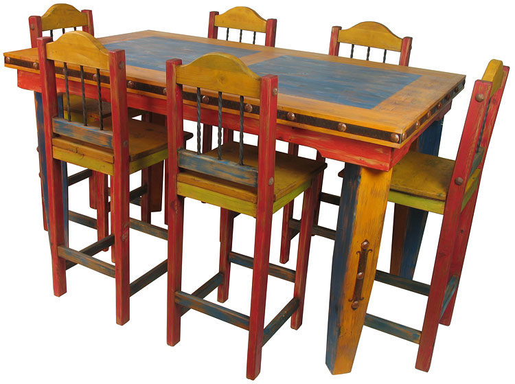 Superbe Mexican Country Style   Multi Color Tall Dining Table Set |7 Piece Dining  Set