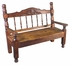 Large Carved Rustic Stained Wood Bench