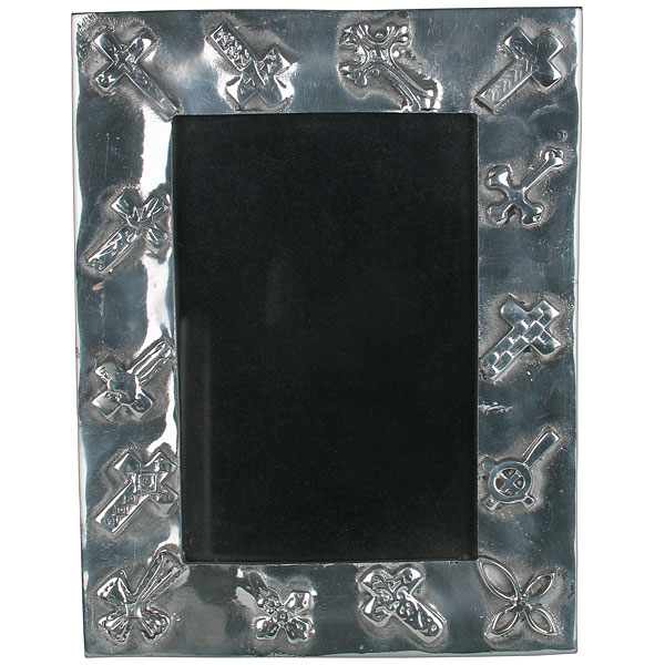 Mexican Pewter Picture Frame With Crosses