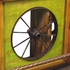 Painted Wood Wagon Wheel Bar