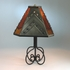 Wrapped Iron Table Lamp with Tin and Colored Glass Shade