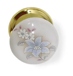 Bi-Fold White Porcelain Door Knob With Delicate Flowers And Brass ...