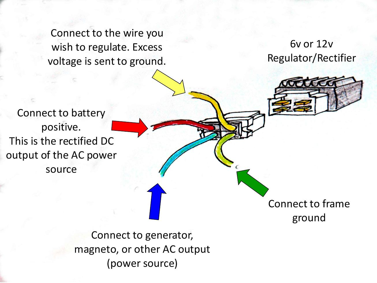 6 volt voltage regulator wiring 6 image wiring diagram 12v or 6v ct70 regulator rectifier pigtail click for instructions on 6 volt voltage regulator wiring