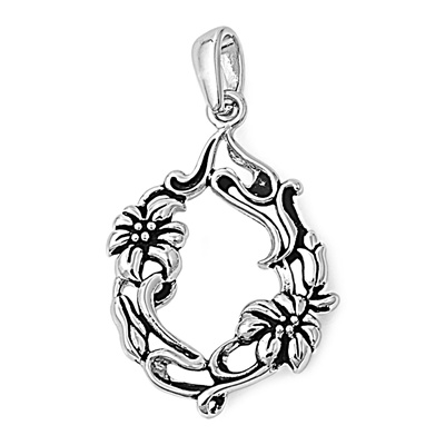 Sterling silver flowers pendant aloadofball Choice Image