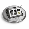 """Lew Electric PUFP-SC 6"""" Stainless Steel Pop Up Floor Plate 6 Comm/Data Ports"""