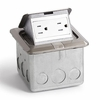 Lew-Electric PUFP-SQ-SS Stainless Steel, Pop Out Floor Plate Assembly, with 15 amp (TR) Duplex Power Receptacle