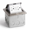 Lew-Electric PUFP-SQ-SS-GFI Stainless Steel, pop out floor plate assembly, with 20 amp (TR) GFI receptacle