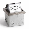 Lew-Electric PUFP-SQ-SS-USB Stainless Steel, pop out floor plate assembly, with 15 amp (TR) duplex power/2 USB receptacle