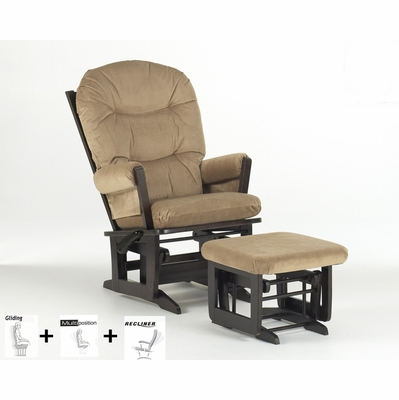 Modern multiposition and recliner glider with ottoman for Chaise dutailier