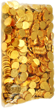 5 lb. bag of Milk Chocolate Gold Coins, Medium Size
