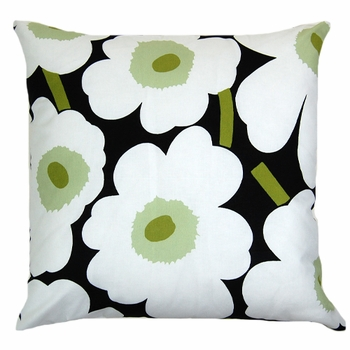 Black White And Green Throw Pillows : Marimekko Black/White/Green Pieni Unikko Throw Pillow - Marimekko Throw Pillows & Blankets