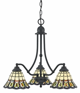 TFBE5103VB Quoizel Lighting Bethany One Tier Chandelier With 3 Downlights