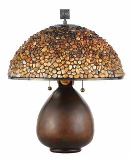 TFFS6221CN Quoizel Lighting Fossil Stone Lamp with Cinnamon Finish