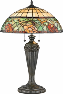 TFPC6328VB Quoizel Lighting Pinecone Tiffany Table Lamp with Vintage Bronze Finish