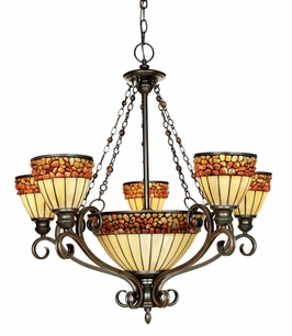 TFPO5005VA Quoizel Lighting Pomez One-Tier Five-Light Chandelier in Valiant Bronze