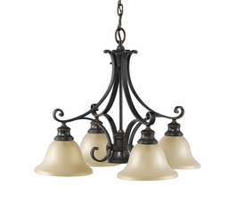 F2186/4+1LBR Murray Feiss Cervantes 1 Light Chandelier in Liberty Bronze Finish