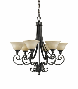 F2187/6LBR Murray Feiss Cervantes 6 Light Chandelier in Liberty Bronze Finish