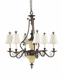 F2207/6FG Murray Feiss Tres Chic Belle Fleur 6 Light Chandelier in Firenze Gold Finish