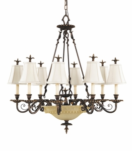 F2208/12FG Murray Feiss Tres Chic Belle Fleur 12 Light Chandelier in Firenze Gold Finish