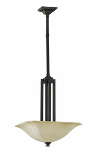 F2211/3ORB Murray Feiss American Foursquare 3 Light Uplight Chandelier in Oil Rubbed Bronze Finish