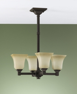 F2212-4ORB Murray Feiss Lighting American Foursquare Collection Chandelier - Mini
