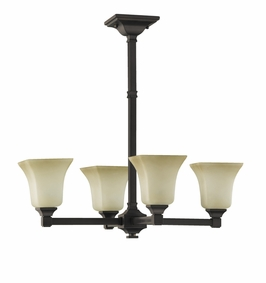 F2214/4ORB Murray Feiss American Foursquare 4 Light Chandelier in Oil Rubbed Bronze Finish