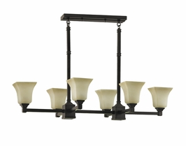 F2215/6+2ORB Murray Feiss American Foursquare 6 Light Chandelier in Oil Rubbed Bronze Finish