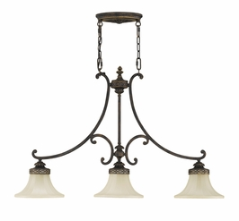 F2218/3WAL Murray Feiss Drawing Room 3 Light Island Chandelier in Walnut Finish