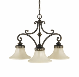 F2219/3WAL Murray Feiss Drawing Room 3 Light Chandelier in Walnut Finish